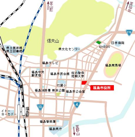 市役所までの地図